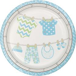 Parti Dünyası - Baby Shower Mavi Tabak 8 Adet