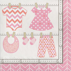 Parti Dünyası - Bebek Kıyafetlerii Pembe Peçete 16 Adet