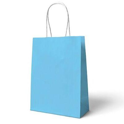 Bebek Mavi Büküm Saplı 6 adet Hediye Çantası 22 x 24 cm