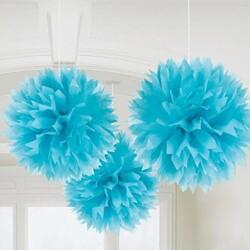 Parti Dünyası - Bebek Mavisi Ponpon Çiçek Asılabilir Süs 3 Adet
