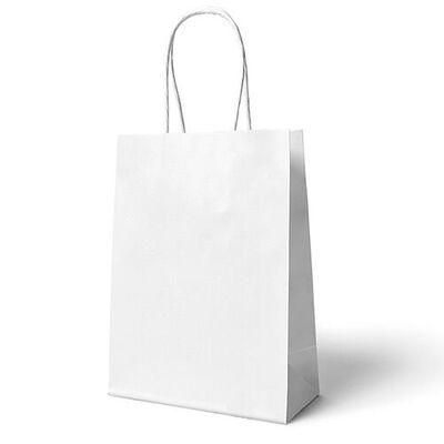 Beyaz Büküm Saplı 6 adet Hediye Çantası 22 x 24 cm