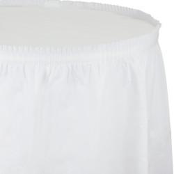 Parti Dünyası - Beyaz Renk Plastik Masa Eteği 74 x 426 cm