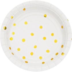 - Beyaz Üzeri Altın Yaldız Puanlı Küçük Tabak 8 Adet