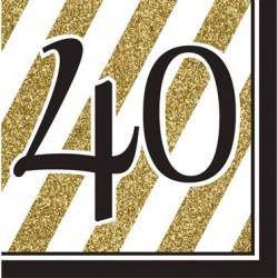 Parti Dünyası - Black & Gold 40 Yaş 16 lı Peçete