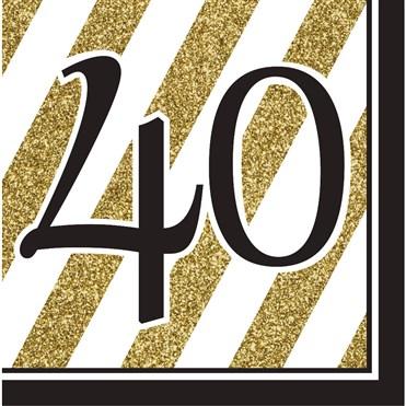 Black & Gold 40 Yaş 16 lı Peçete