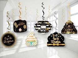 Parti - Black & Gold 6 Lı Asma Süsü
