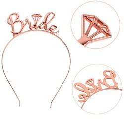 Parti Dünyası - Bride Metal Rose Gold Renk Taç