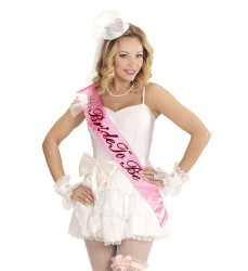 Parti - Bride to Be Saten Vücud Bandı Üzeri Taşlı Mini Taç Süslü