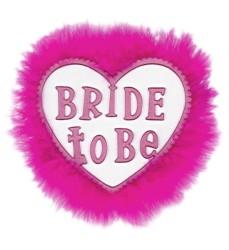 Parti - Bride To Be Tüylü Kalp Rozet
