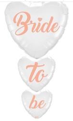 Parti Dünyası - Bride To Be Yazılı Beyaz 100cm 3 lü Folyo Balon