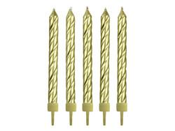 Parti Dünyası - Burgulu Altın Renk 10 Lu Mum 6 cm