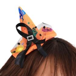 Parti Dünyası - Cadı Şapkalı Taç Turuncu Renkli Halloween Desenli