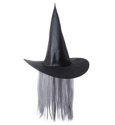 Cadı Şapkası Gri Renk Uzun Saçlı