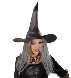 Parti Dünyası - Cadı Şapkası Gri Renk Uzun Saçlı