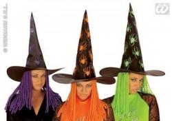 Parti - Örümcekli Neon Cadı Şapkası Kıvırcık Yün Saçlı Aso