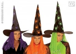 Parti Dünyası - Örümcekli Neon Cadı Şapkası Kıvırcık Yün Saçlı Aso