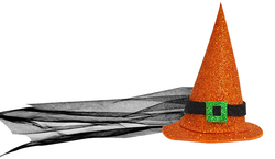 Parti Dünyası - Cadı Şapkası Turuncu Büyük Boy Eva 17 cm
