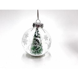 Parti Dünyası - Çam Ağaçlı Karlı Çam Ağacı Süsü 8 cm