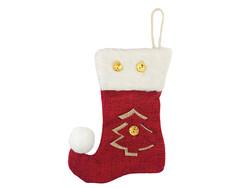 Parti Dünyası - Çam Ağaçlı Noel Çorabı Bordo Renk 12 x 16 cm