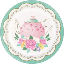Parti Dünyası - Çay Partisi Çiçekler Pasta Tabağı 8 Adet