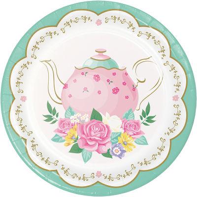 Çay Partisi Çiçekler Pasta Tabağı 8 Adet