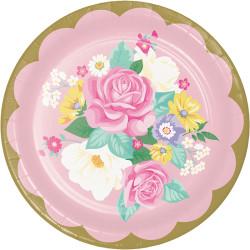 Parti Dünyası - Çiçekler Premium Tabak 8 Adet