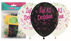 Parti Dünyası - Çepeçevre Floresan İyiki Doğdun Baskılı balon