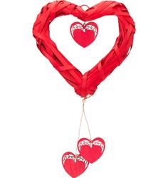 Parti Dünyası - Dekoratif Hasır Kalp Asma Süs 25 cm Kalp Sarkıtlı