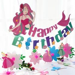 Parti Dünyası - Deniz Kızı Happy Birthday Dev Afiş 1,5 Metre