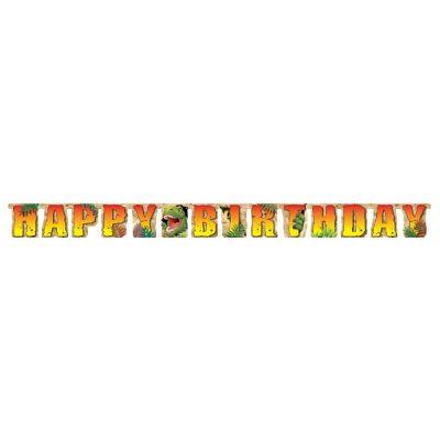 Dinozor Land Happy Birthday Harf Afiş