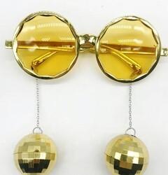 Parti Dünyası - Disco Topları Altın Sarı Renkli Parti Gözlüğü