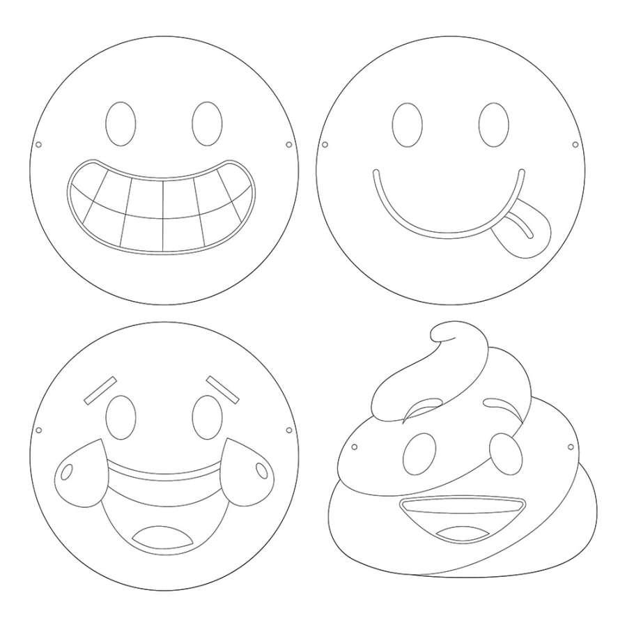 Emojiler Boyama Maskeleri 12 Adet Partidunyasicom