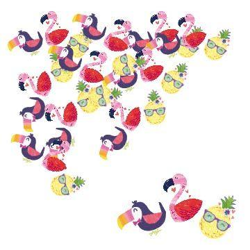 - Flamingo-Ananas Masa Üzeri DEV Konfeti 15 Adet
