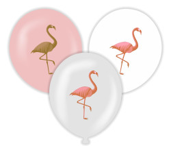 Parti - Flamingo Şeffaf-Pembe Baskılı Balon 6 Adet