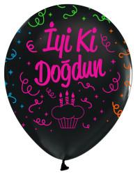 - Floresan İyi Ki Doğdun baskılı siyah 100 Lü Balon