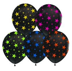Parti Dünyası - Floresan Yıldızlar Baskılı 10 Lu Latex Balon