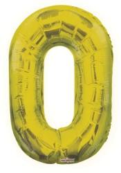- Folyo Balon 0 Rakamı Altın Renk 40 cm