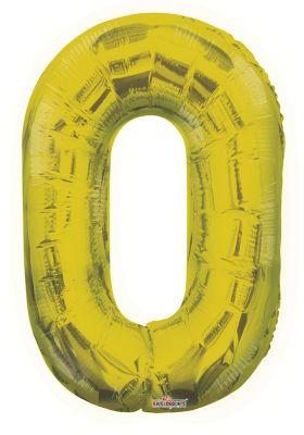 Folyo Balon 0 Rakamı Gold // Altın Renk 100 cm
