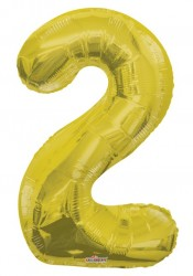 Parti Dünyası - Folyo Balon 2 Rakamı Gold//Altın Renk 100 cm