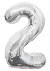 Parti Dünyası - Folyo Balon 2 Rakamı Gümüş
