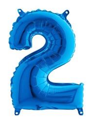 Parti Dünyası - Folyo Balon 2 Rakamı Mavi 100 cm