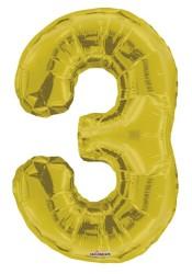 Parti Dünyası - Folyo Balon 3 Rakamı Altın Renk 40 cm