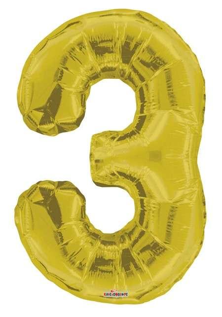 Folyo Balon 3 Rakamı Gold//Altın Renk