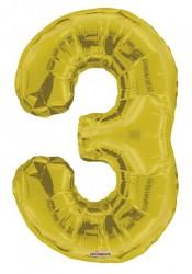 - Folyo Balon 3 Rakamı Gold//Altın Renk 100 cm