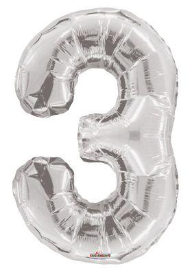Convergram - Folyo Balon 3 Rakamı Gümüş