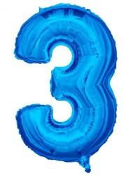 - Folyo Balon 3 Rakamı Mavi 100 cm