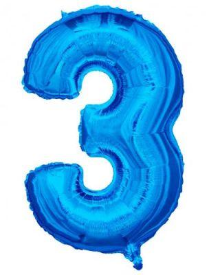 - Folyo Balon 3 Rakamı Mavi