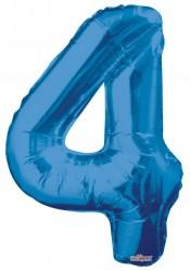 - Folyo Balon 4 Rakamı Mavi 100 cm