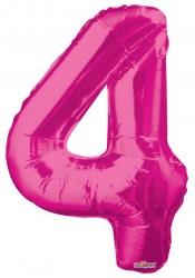 - Folyo Balon 4 Rakamı Pembe 100 cm