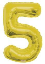 - Folyo Balon 5 Rakamı Altın Renk 40 cm